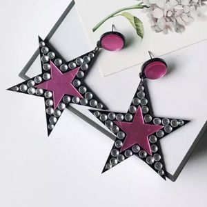 🦋 new NWT EARRINGS Pink & black stars crystals